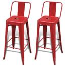 vidaXL Kwadratowe stołki barowe, 2 szt., czerwone