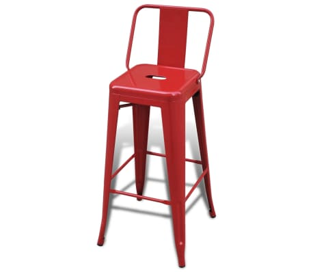 vidaXL Bar Stools 2 pcs Square Red[3/5]