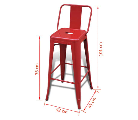 vidaXL Bar Stools 2 pcs Square Red[5/5]