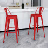 vidaXL Barski stolčki 2 kosa rdeče jeklo