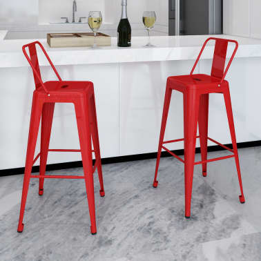 vidaXL Bar Stools 2 pcs Square Red[1/5]