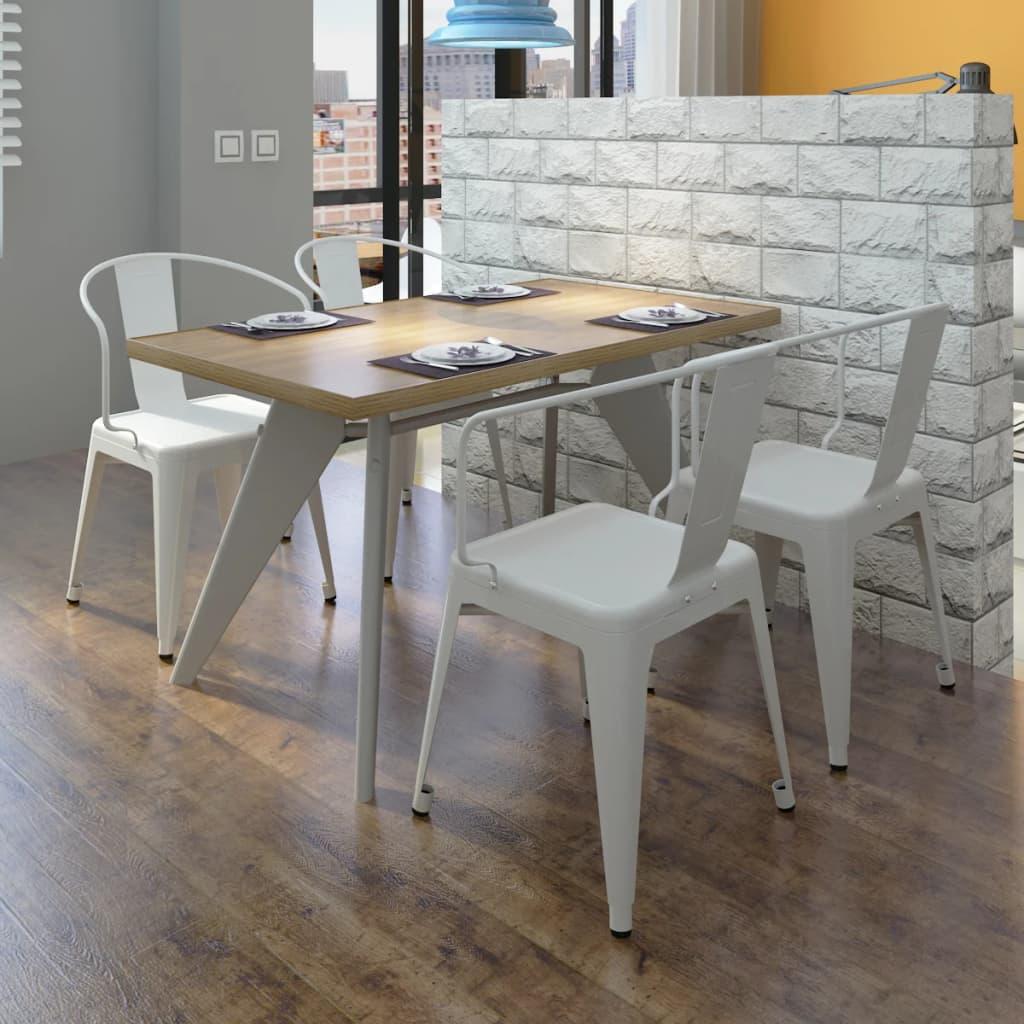 Jídelní židle s opěradlem, bílé, 4 ks
