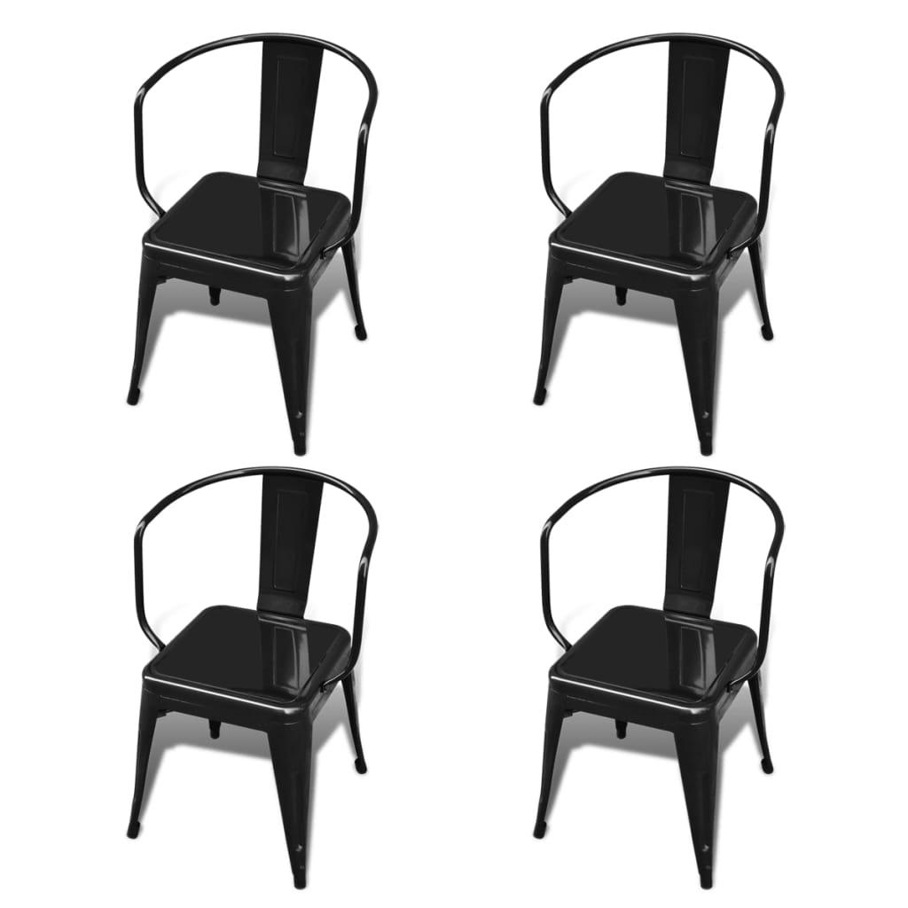 Jídelní židle s opěradlem, černé, 4 ks