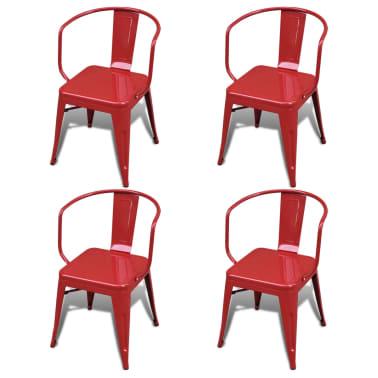 Silla de comedor de estilo industrial 4 unidades rojas for Sillas rojas comedor