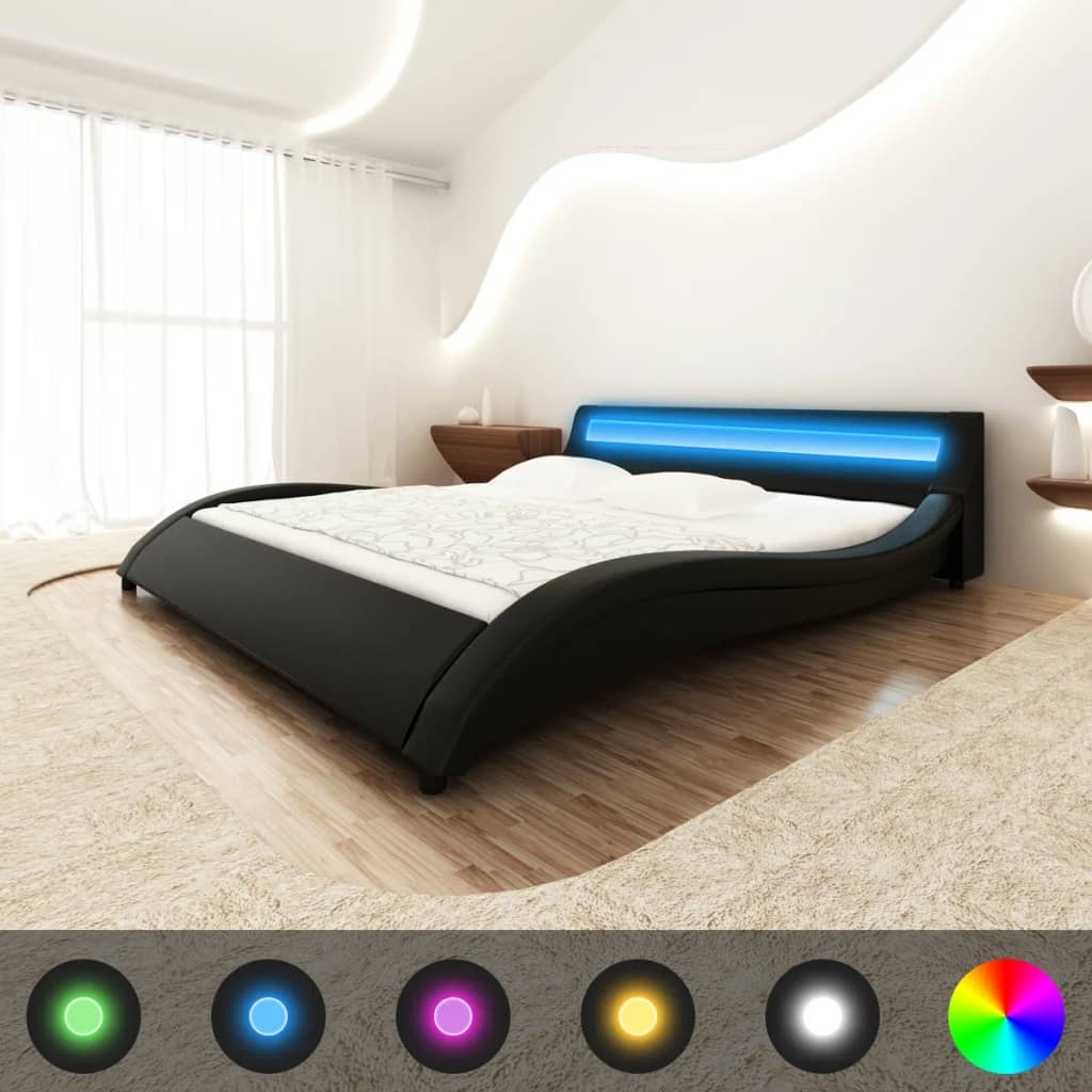 Černá postel koženka tvar vlny 180 cm s pruhem světel LED a s matrací