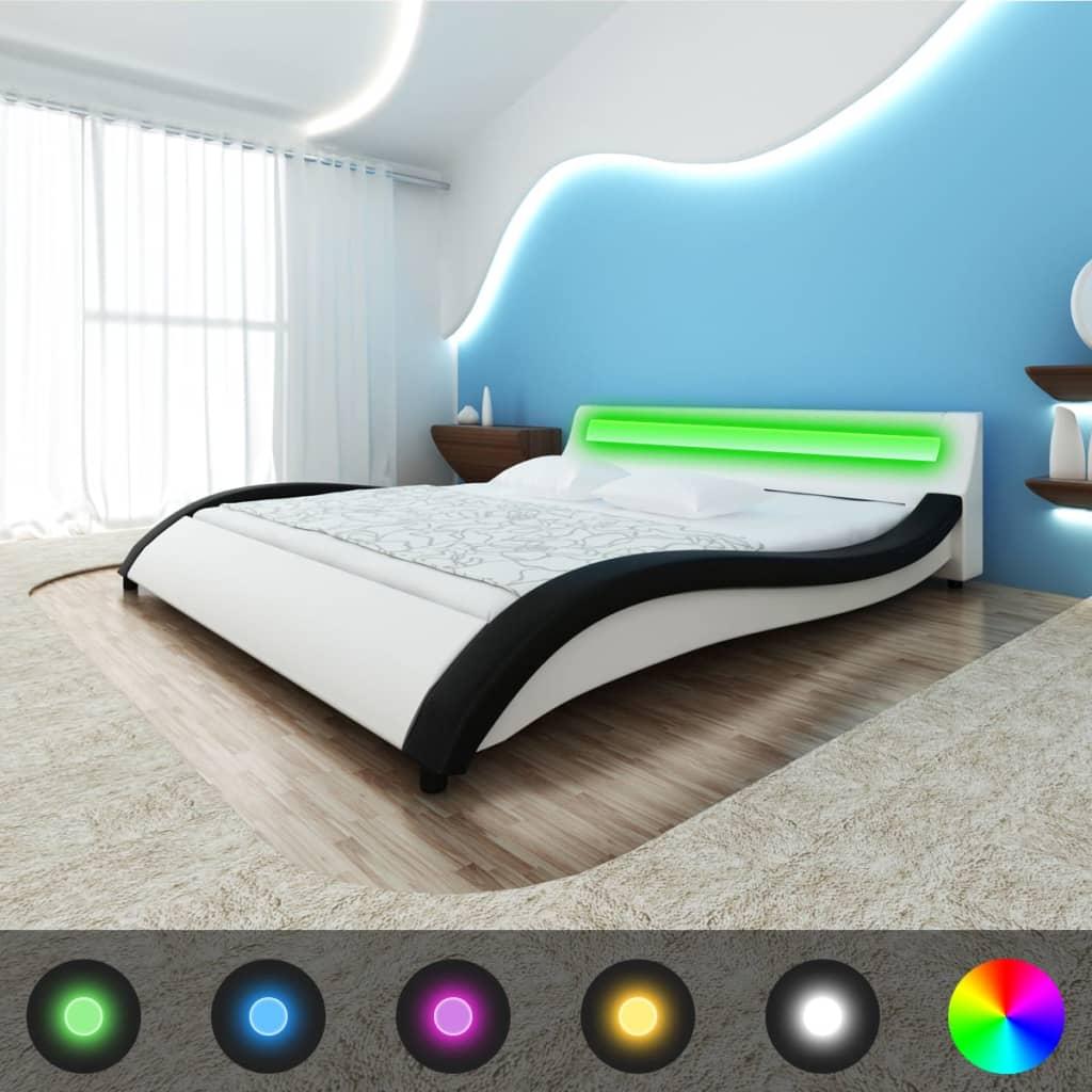 Postel tvaru vlny, imitace kůže, LED + matrace 200 x 180 cm černobílá