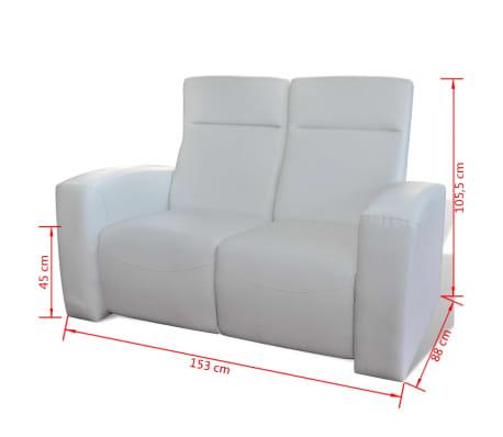 canap inclinable en cuir m lang avec 2 assises blanc. Black Bedroom Furniture Sets. Home Design Ideas