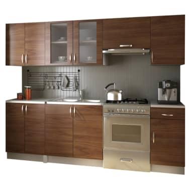 einbauk che 240 cm k chenzeile k che kitchen set k chenblock hellbraun g nstig kaufen. Black Bedroom Furniture Sets. Home Design Ideas