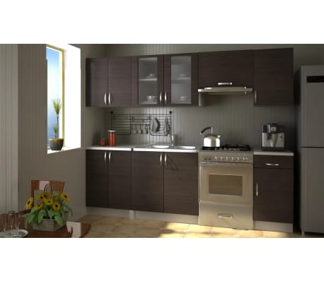 Kitchen Cabinet Unit Set 2 4m Walnut Dark Brown Vidaxl Co Uk