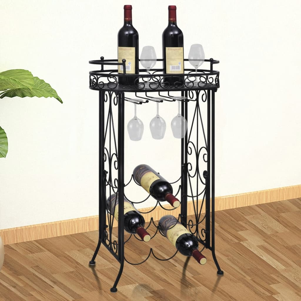 vidaXL Suport sticle de vin pentru 9 sticle, cu suport pahar, metal imagine vidaxl.ro
