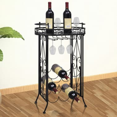 vidaXL Wine Rack with Glass Holder for 9 Bottles Metal[1/5]