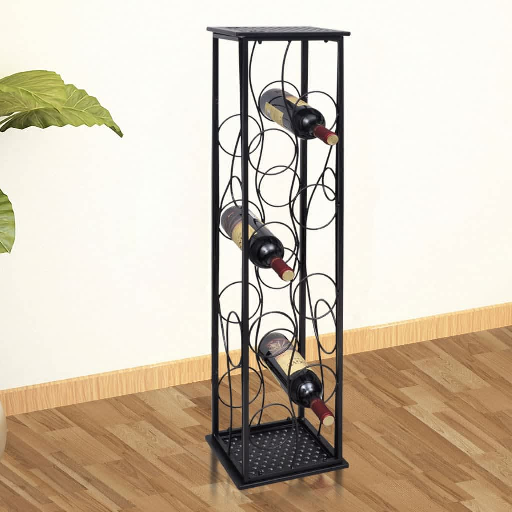 8 Bottle Wine Rack Metal Storage Display Liquor Cabinet Bottle Holders  Black New