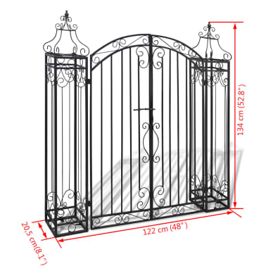 vidaXL Ornamental Garden Gate Wrought Iron 4