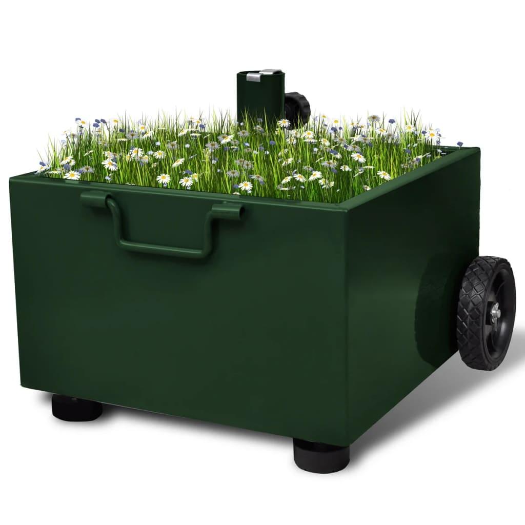 vidaXL Suport umbrelă de exterior, ghiveci plante, verde imagine vidaxl.ro
