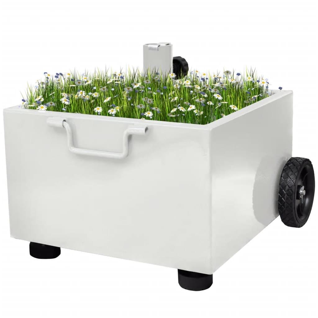 vidaXL Suport umbrelă de exterior, ghiveci plante, alb vidaxl.ro