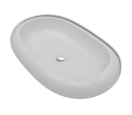 Luxusní keramické oválné umyvadlo - 63 x 42 cm - bílé