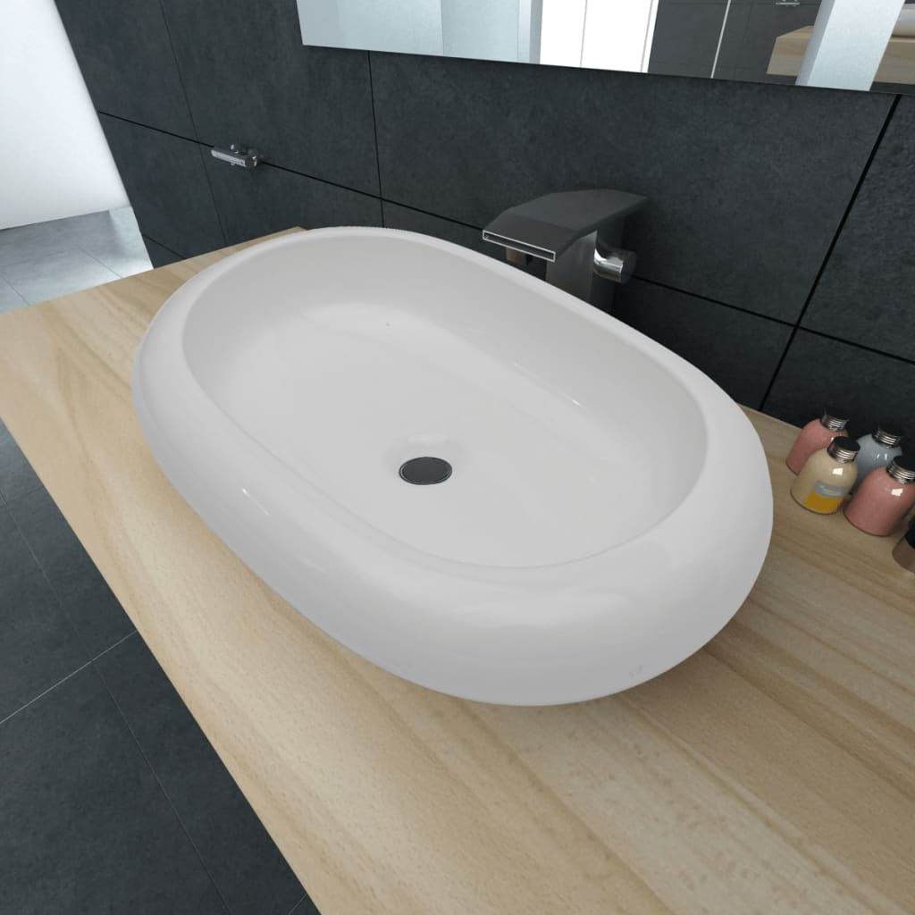 vidaXL Luxury Ceramic Basin Oval-shaped Sink White 63 x 42 cm