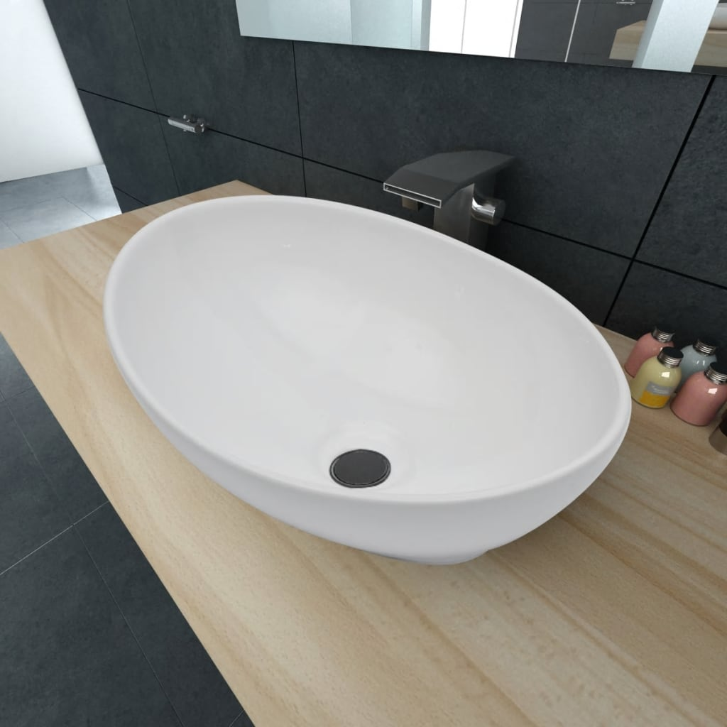vidaXL Luxury Ceramic Basin Oval-shaped Sink White 40 x 33 cm