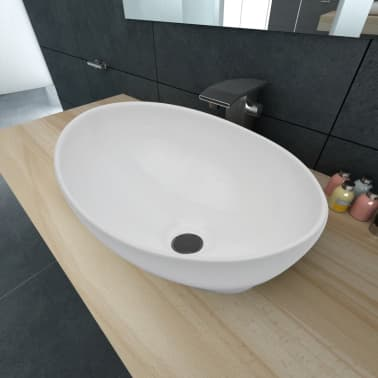 vidaXL Luxury Ceramic Basin Oval-shaped Sink White 40 x 33 cm[1/6]