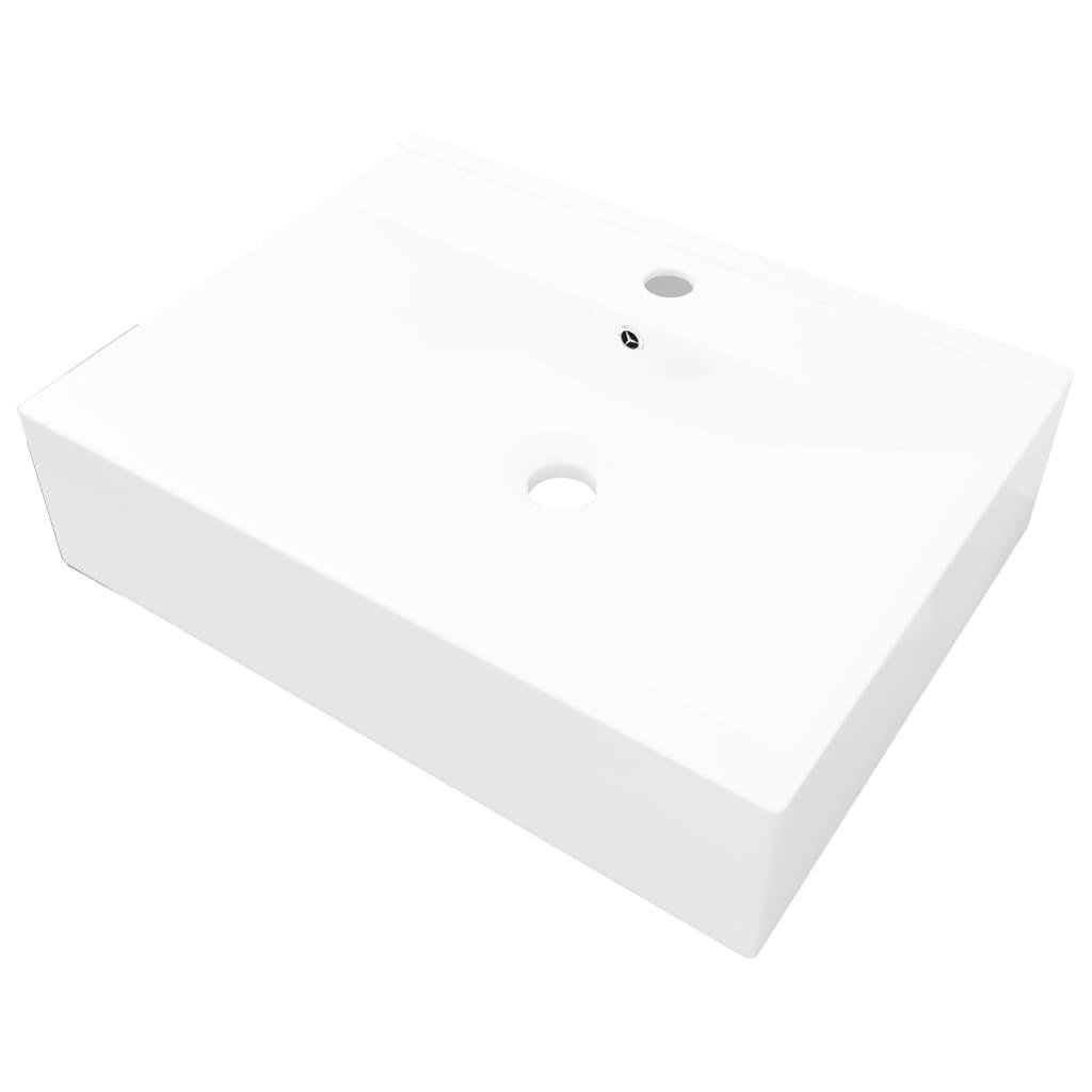 Afbeelding van vidaXL Luxe wastafel met kraangat wit rechthoekig keramiek 60x46 cm