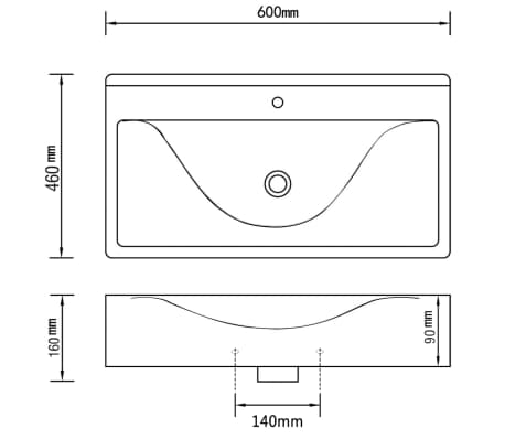 Luksuzni Keramički Pravokutni Umivaonik s Otvorom za Slavinu Bijeli 60 x 46 cm[6/6]