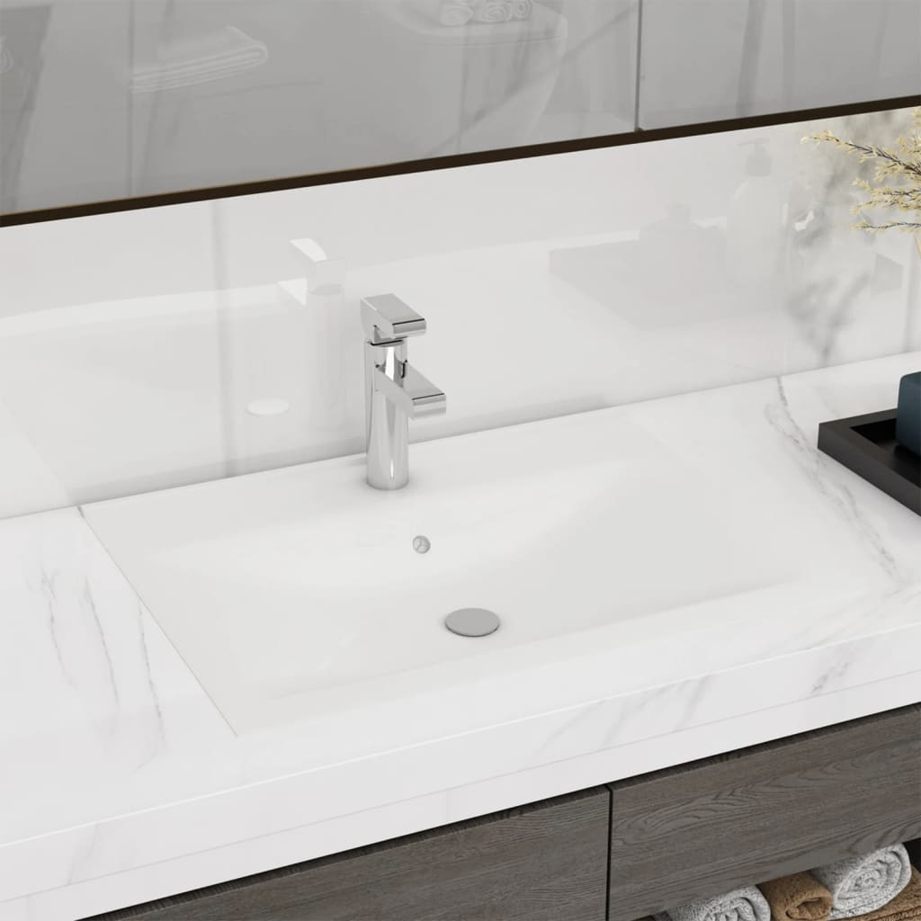vidaXL Rectangular Ceramic Basin Sink White with Faucet Hole 60x46cm