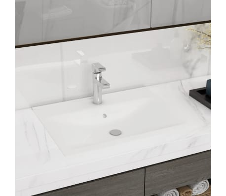 Luksuzni Keramički Pravokutni Umivaonik s Otvorom za Slavinu Bijeli 60 x 46 cm[1/6]