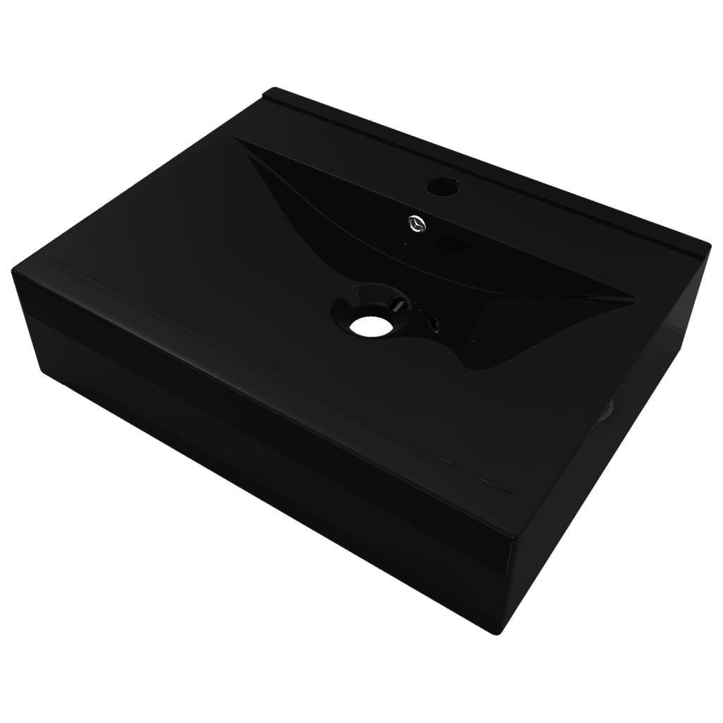 Afbeelding van vidaXL Luxe wastafel met kraangat zwart rechthoekig keramiek 60x46 cm