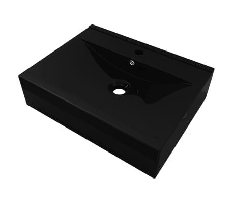 Rectangular Ceramic Basin Black with Faucet Hole 60x46cm[2/6]