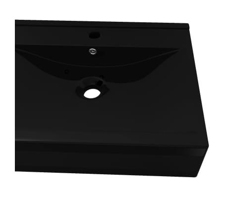 Luksusowa umywalka prostokątna z otworem na kran, czarna, 60 x 46 cm[5/6]
