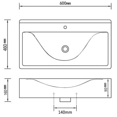 Rectangular Ceramic Basin Black with Faucet Hole 60x46cm[6/6]