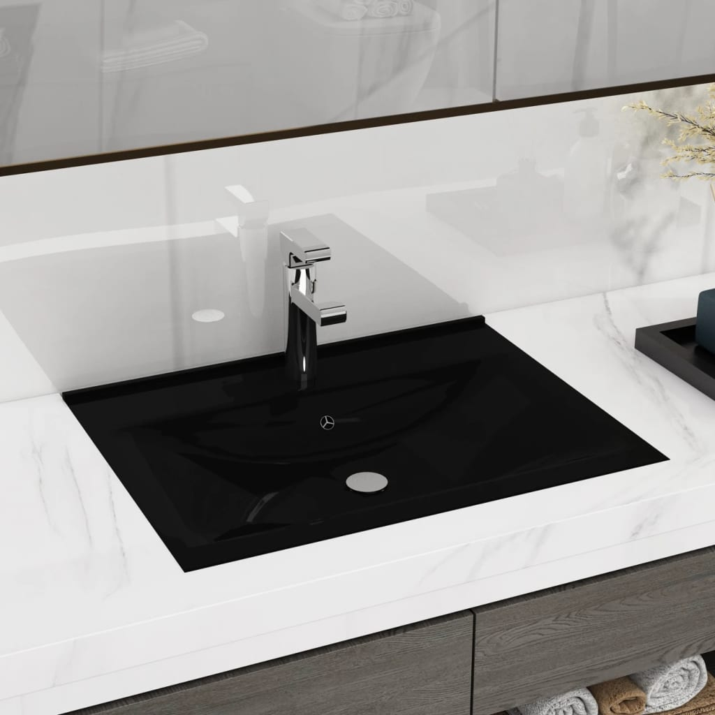 vidaXL Rectangular Ceramic Basin Black with Faucet Hole 60x46cm