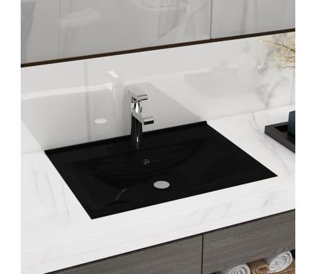 Luksusowa umywalka prostokątna z otworem na kran, czarna, 60 x 46 cm[1/6]