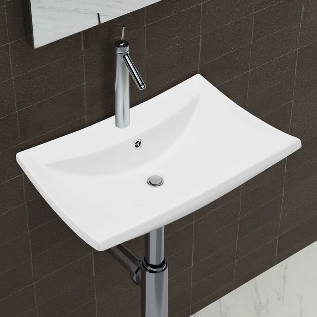 vidaXL Luxury Ceramic Basin Rectangular with Overflow & Faucet Hole
