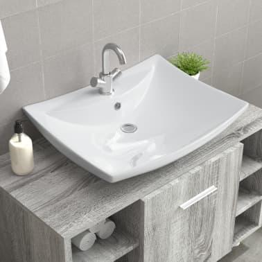 Lavabo rectangular de cer/ámica con desag/üe negro y blanco para lavabo de ba/ño con desag/üe negro