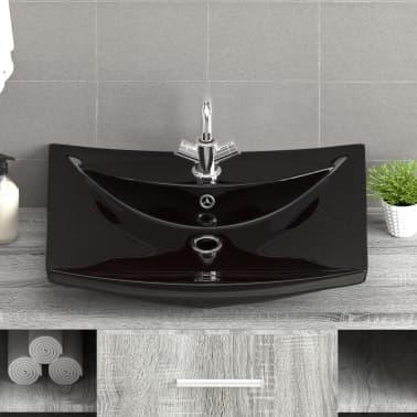 vidaXL Razkošen keramičen umivalnik pravokoten z odprtino za pipo[7/8]