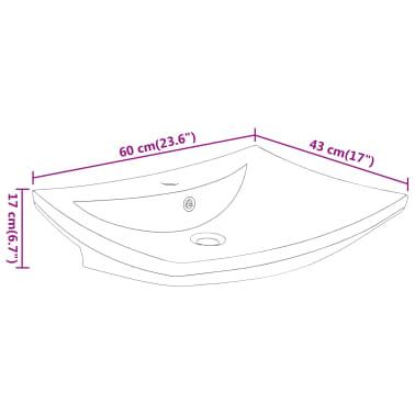 vidaXL Razkošen keramičen umivalnik pravokoten z odprtino za pipo[8/8]