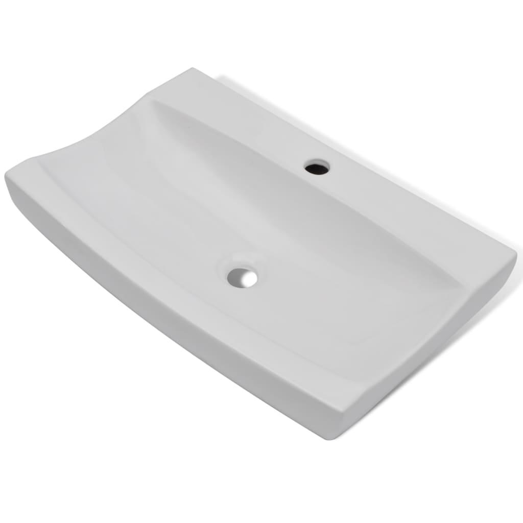 Afbeelding van vidaXL Luxe keramische rechthoekige wasbak met kraangat 62,5 x 39,5 cm (wit)