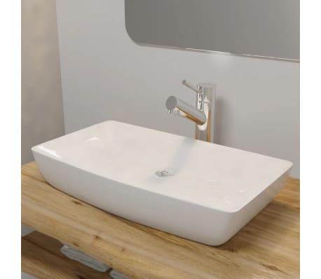 Keramik Waschtisch Waschbecken Rechteckig Weiss 71 X 39 Cm Gunstig