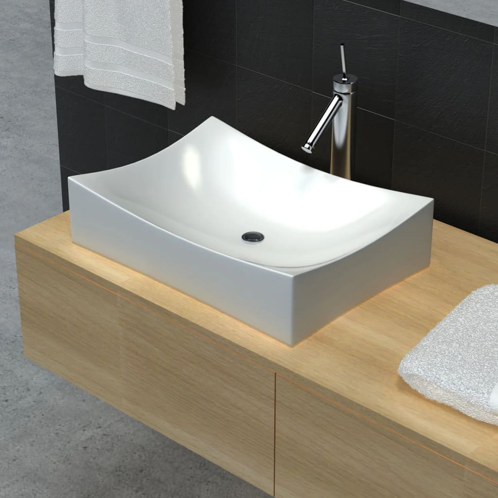 vidaXL Bathroom Ceramic Porcelain Sink Art Basin White High Gloss