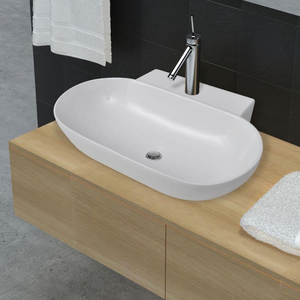 Chiuvetă ovală din ceramică pentru baie, Alb poza vidaxl.ro