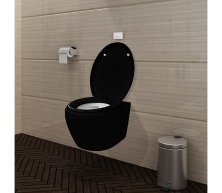 Wall Hung Toilet Black Soft Close Mechanism With Flush