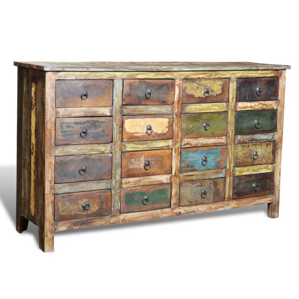 vidaXL Komoda s 16 šuplíky, recyklované masivní dřevo, starožitný styl