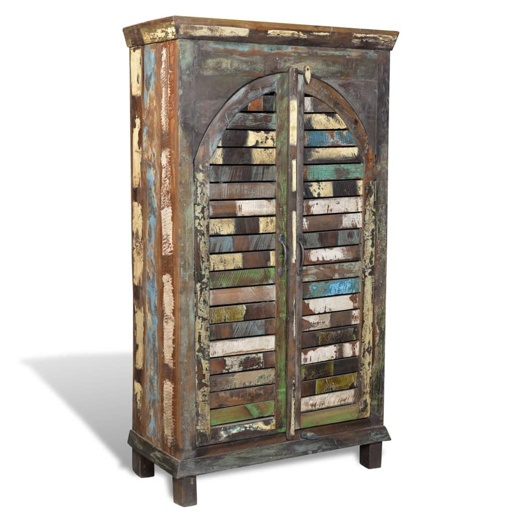 Knihovna / skříň z recyklovaného dřeva vícebarevná 3 police & 2 dvířka