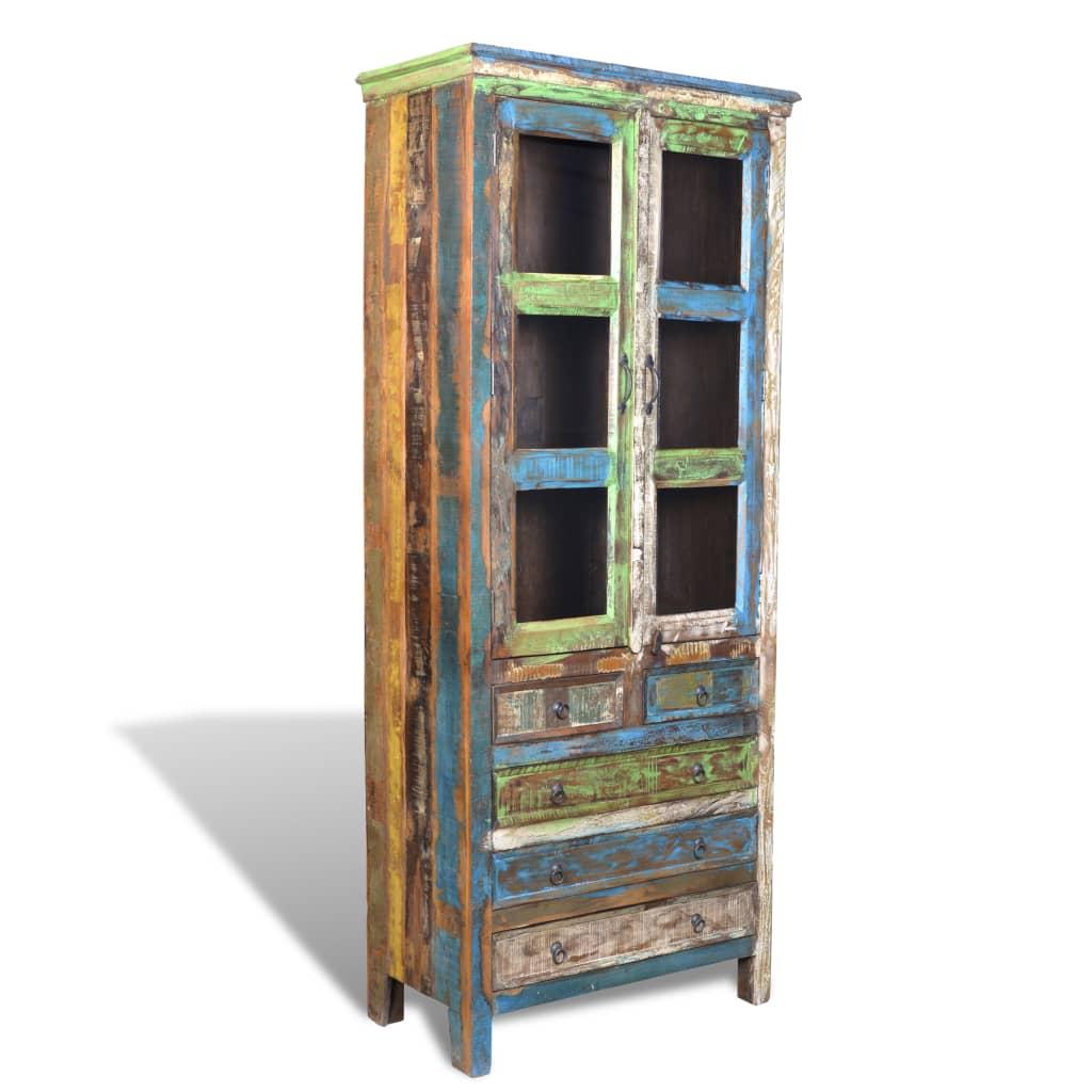 Knihovna /skříň z recyklovaného dřeva vícebarevná 5 šuplíků & 2 dvířka
