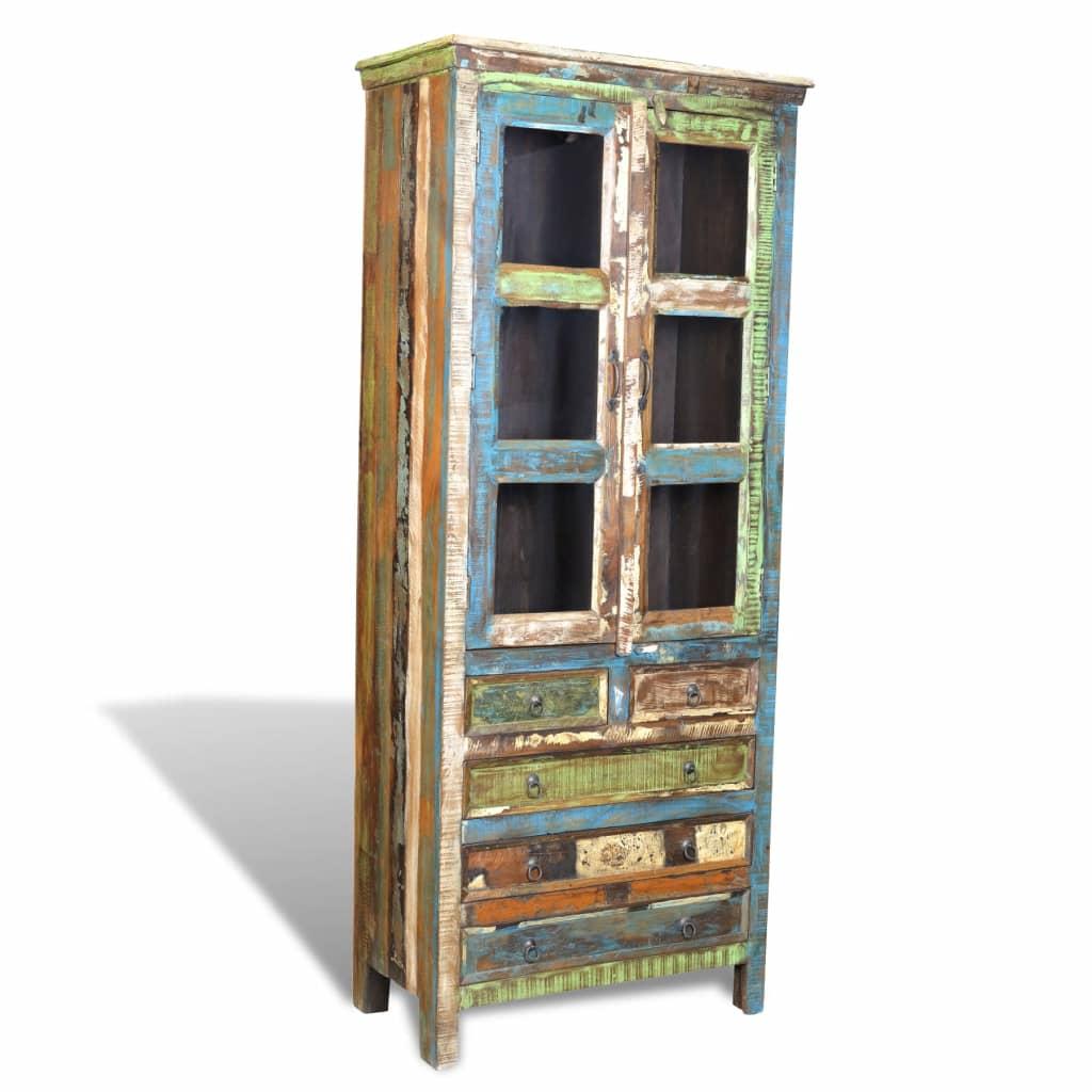 vidaXL Boekenkast met 5 lades en 2 deuren gerecycled hout meerkleurig