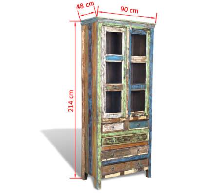 Reclaimed Wood Bookshelf Bookcase 5 Drawers 2 Doors14 14