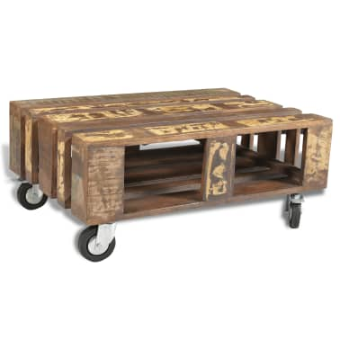 vidaXL Coffee Table with 4 Wheels Reclaimed Wood[1/12]