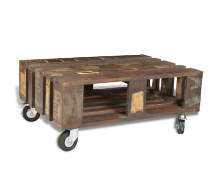 vidaXL Coffee Table with 4 Wheels Reclaimed Wood[2/12]