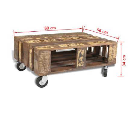 vidaXL Coffee Table with 4 Wheels Reclaimed Wood[12/12]